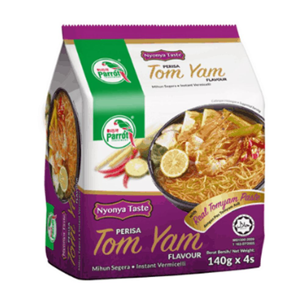 Parrot Instant Vermicelli Nyonya Taste Tomyam Noodles (140g x 4 packets)