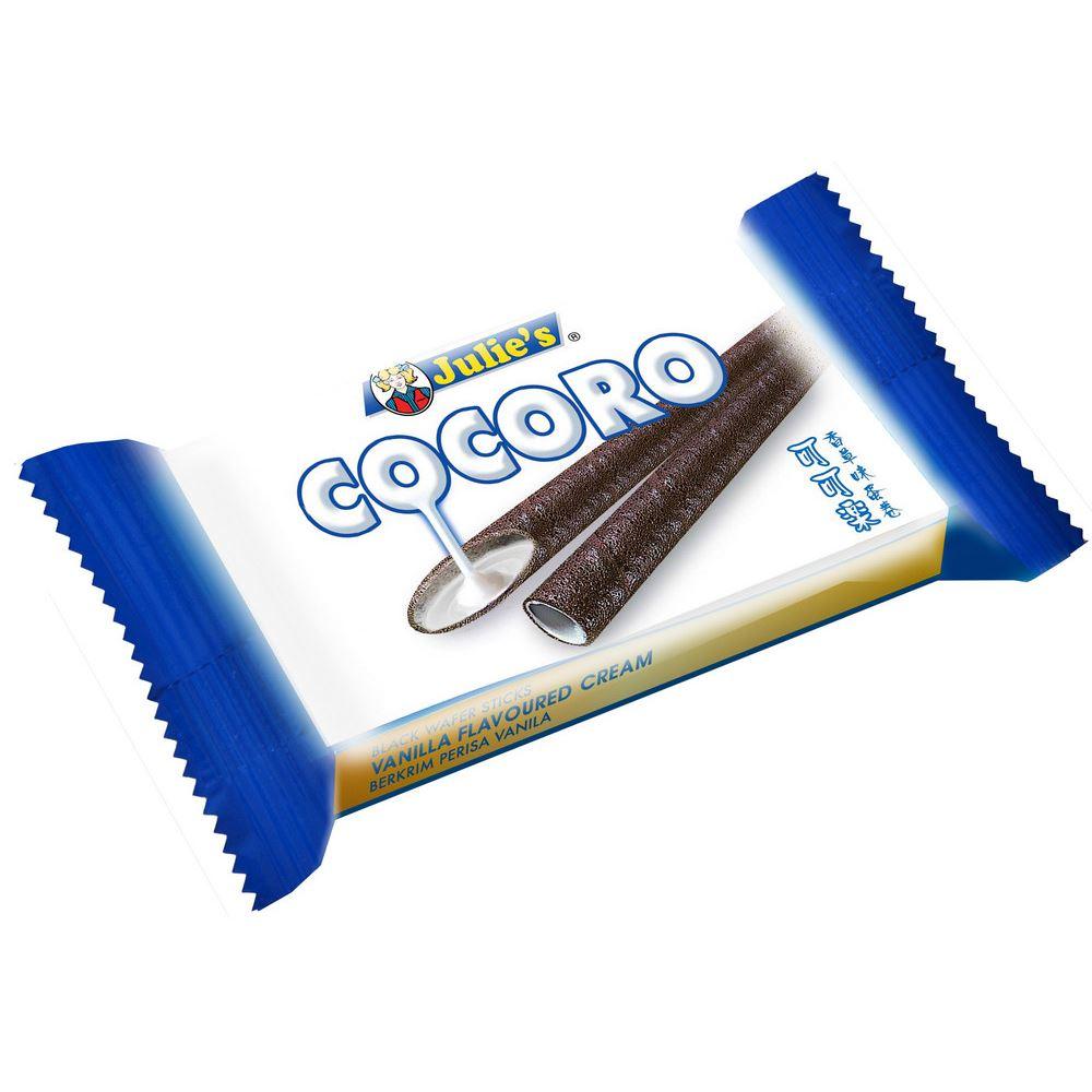 Cocoro Black Wafer Sticks Vanilla Flavoured Cream 20g