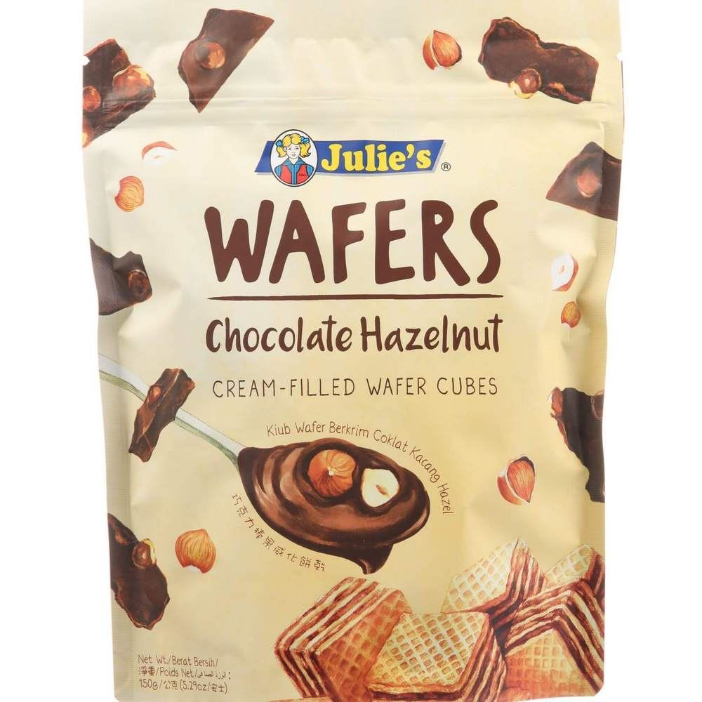 Julie's Wafers Chocolate Hazelnut Cream-Filled Wafer Cubes 150g