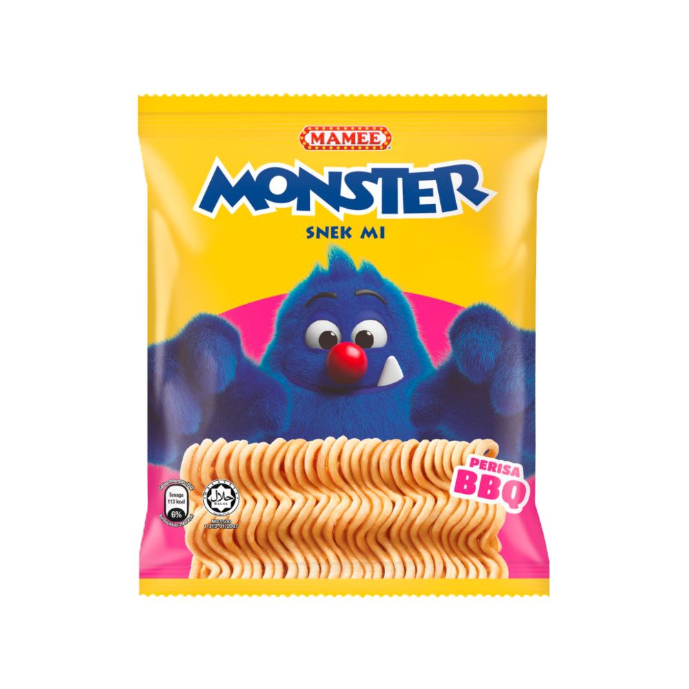 Mamee Monster Noodle Snacks Barbeque 10 x 8 x 25g