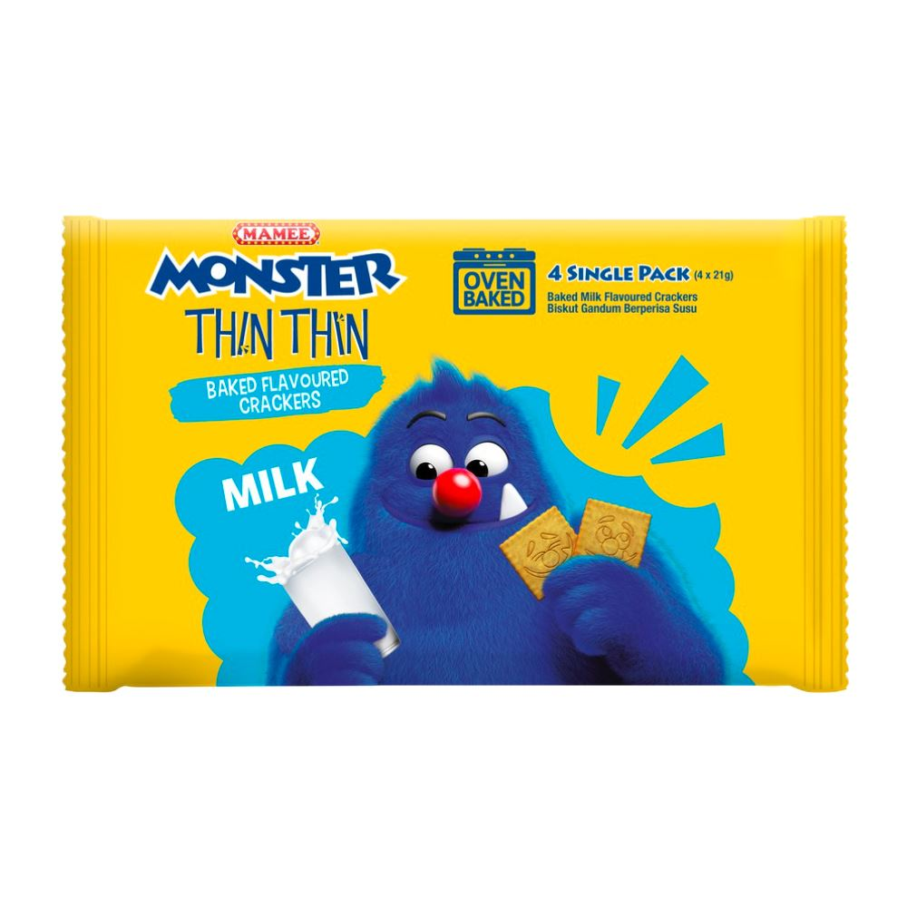 Mamee Monster Biskidz Milk 12 x 8 x 21g