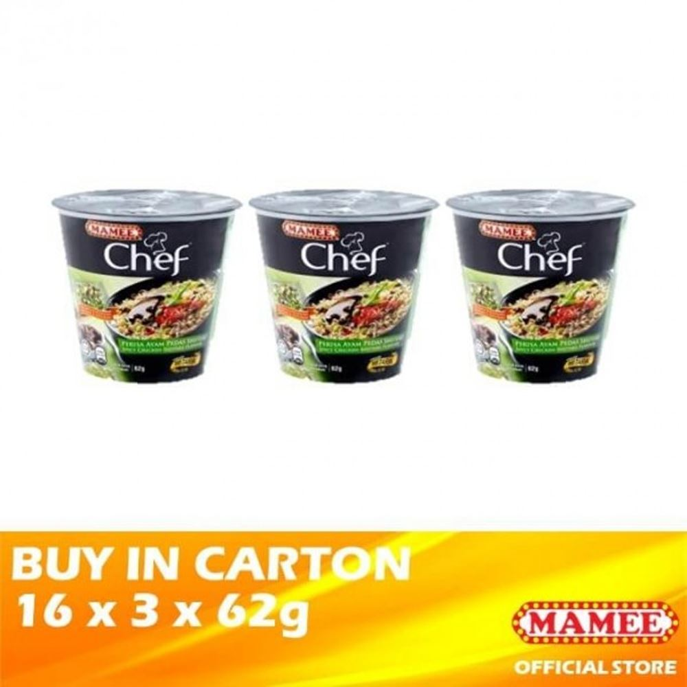 Mamee Chef Cup 3's Spicy Chicken Shiitake 16 x 3 x 62g