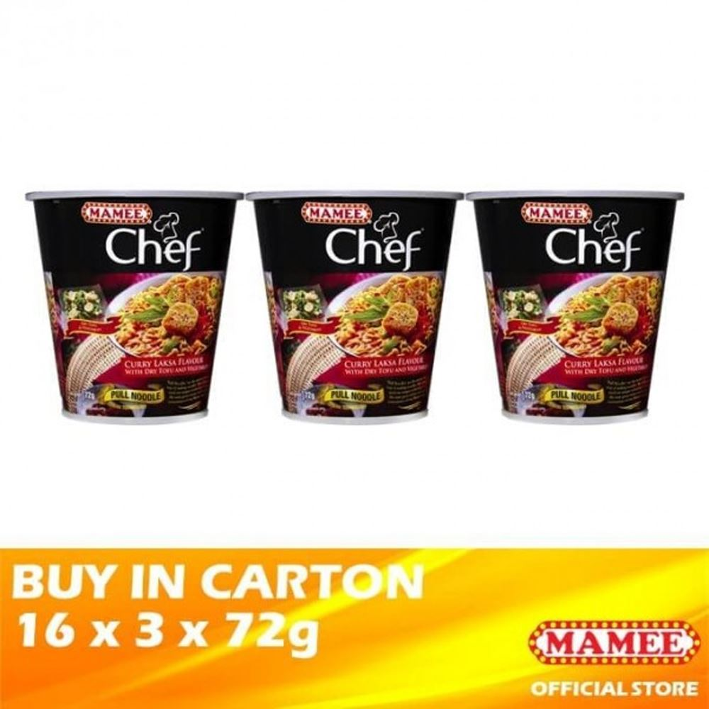 Mamee Chef Cup 3's Curry Laksa 16 x 3 x 72g