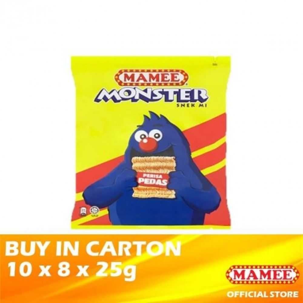 Mamee Monster Noodle Snacks Hot & Spicy 10 x 8 x 25g