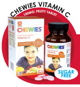Chewies Vitamin C 100mg Fruity Tablet (Sugar Free)