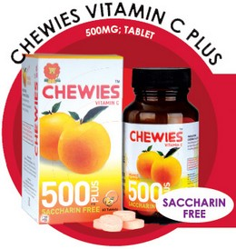 Chewies Vitamin C Plus 500mg Tablet (Saccharin Free)