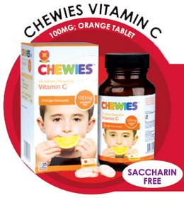 Chewies Vitamin C 100mg Orange Tablet