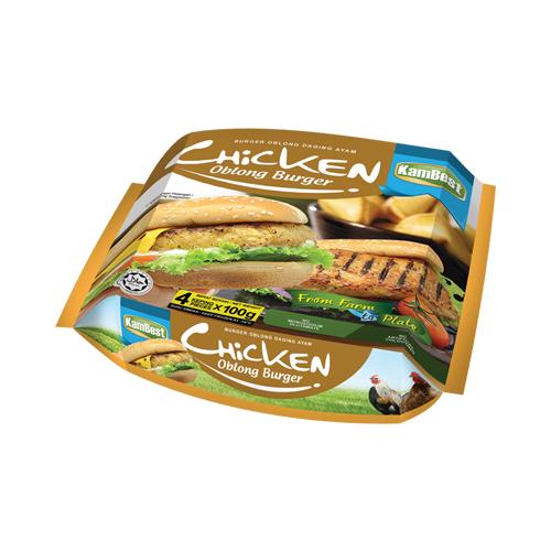 Chicken Oblong Burger (Burger Oblong Daging Ayam)
