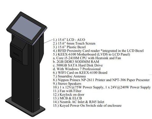 "15.6"" Super Slim Fanless KIOSK with Printer"