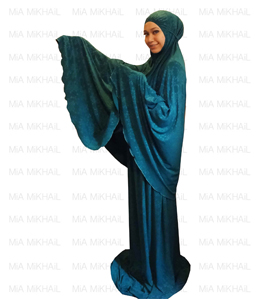 Muslim Women's Hijab 2pcs Islamic Prayer Clothing Bamboo Emboss