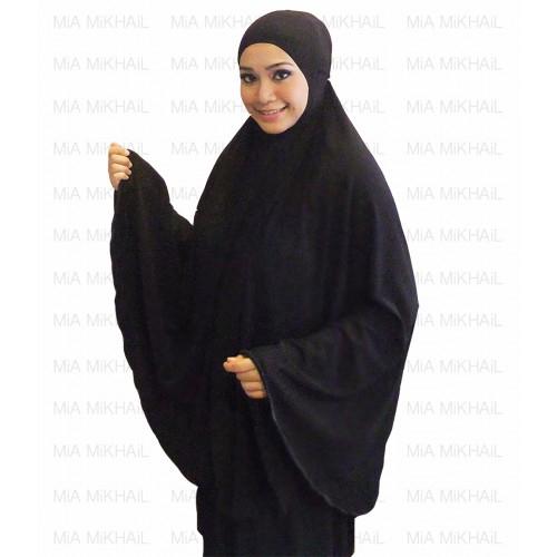Muslim Women's Hijab 2pcs Islamic Prayer Clothing Black Premium
