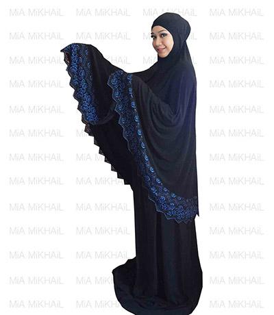 Muslim Women's Hijab 2pcs Islamic Prayer Clothing  Blue Black Lace