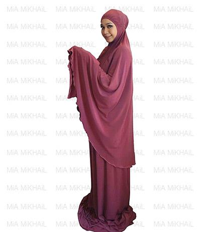 Muslim Women's Hijab 2pcs Islamic Prayer Clothing Dark Mulberry Premium