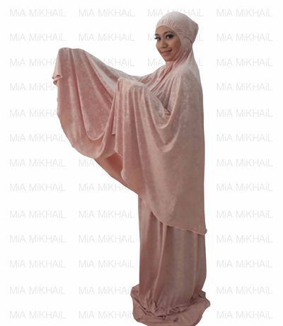 Muslim Women's Hijab 2pcs Islamic Prayer Clothing Dreamy Peach Emboss