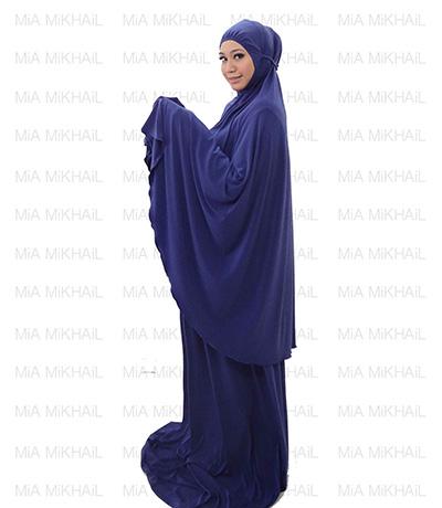Muslim Women's Hijab 2pcs Islamic Prayer Clothing Electric Blue Premium