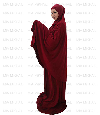 Muslim Women's Hijab 2pcs Islamic Prayer Clothing Fire Red Premium