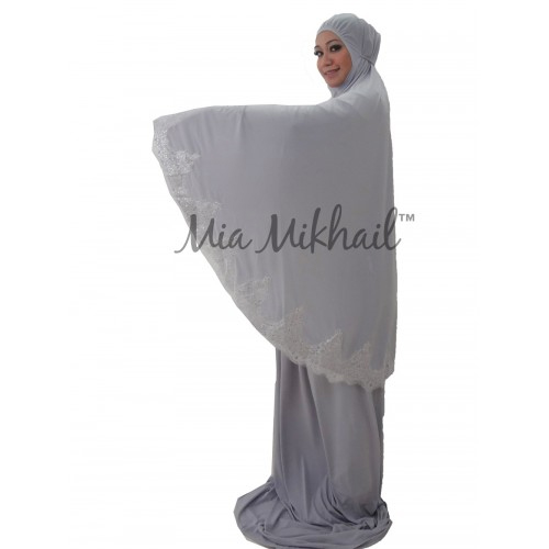 Muslim Women's Hijab 2pcs Islamic Prayer Clothing Glittery Silver