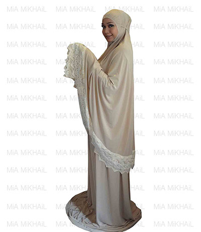 Muslim Women's Hijab 2pcs Islamic Prayer Clothing Pavlova Lace