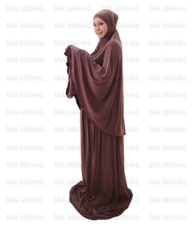 Muslim Women's Hijab 2pcs Islamic Prayer Clothing Sweet Burgundy Dopdye