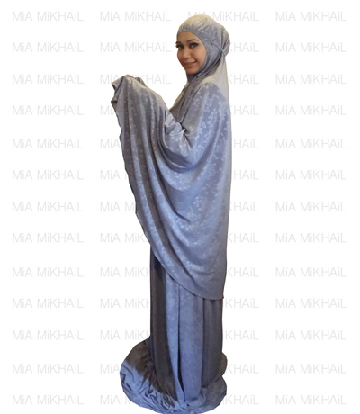Muslim Women's Hijab 2pcs Islamic Prayer Clothing Taro Emboss