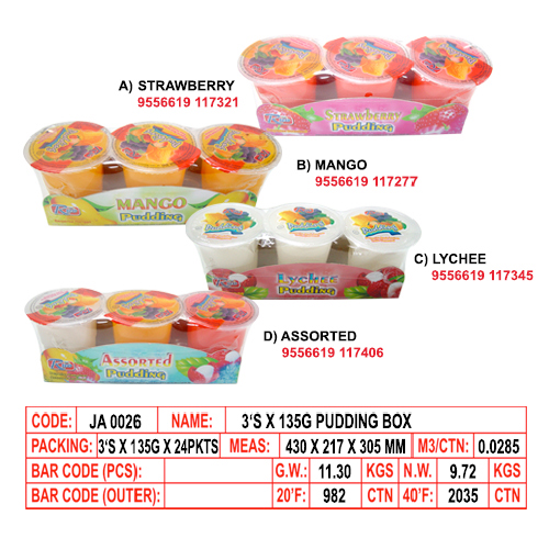 3's x 135g Pudding Box