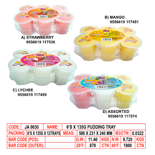 6's x 135g Pudding Tray