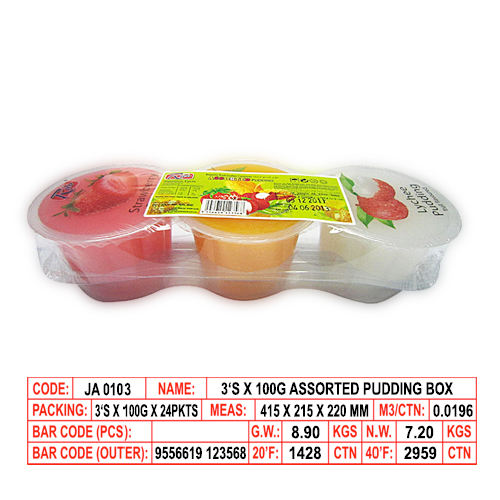 3's x 100g Assorted Pudding Box