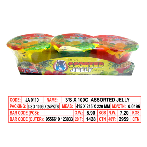 3's x 100g Assorted Jelly