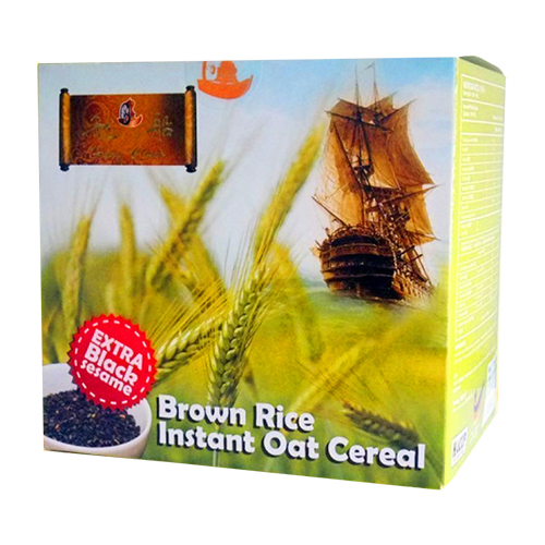 Brown Rice Instant Oat Cereal with Black Sesame Brown Rice Oat meal add black sesame seeds