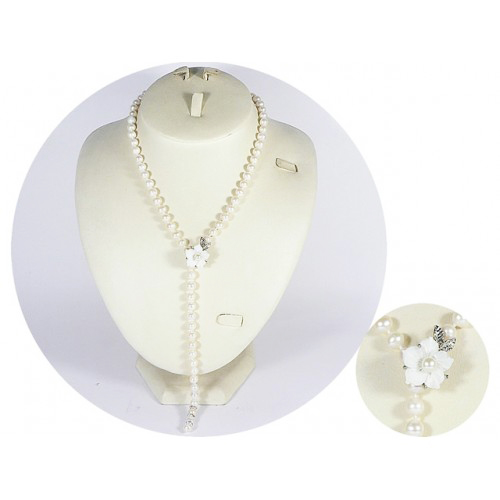 Charming Pearl Necklace with Flower Clasp