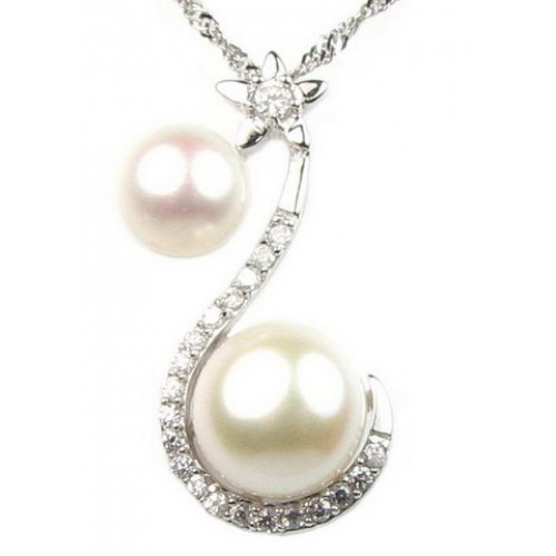 Freshwater White Twin Pearl Pendant