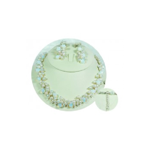 White Rice Pearl and Opal Moonlight Stones Jewellery Sets