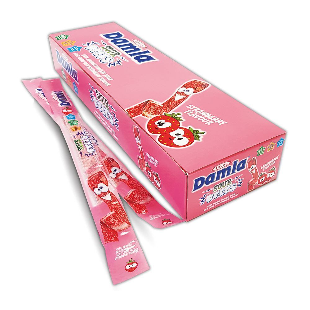 DAMLA Sour Belts (STRAWBERRY) Carton Box 15g - (LICORICE)
