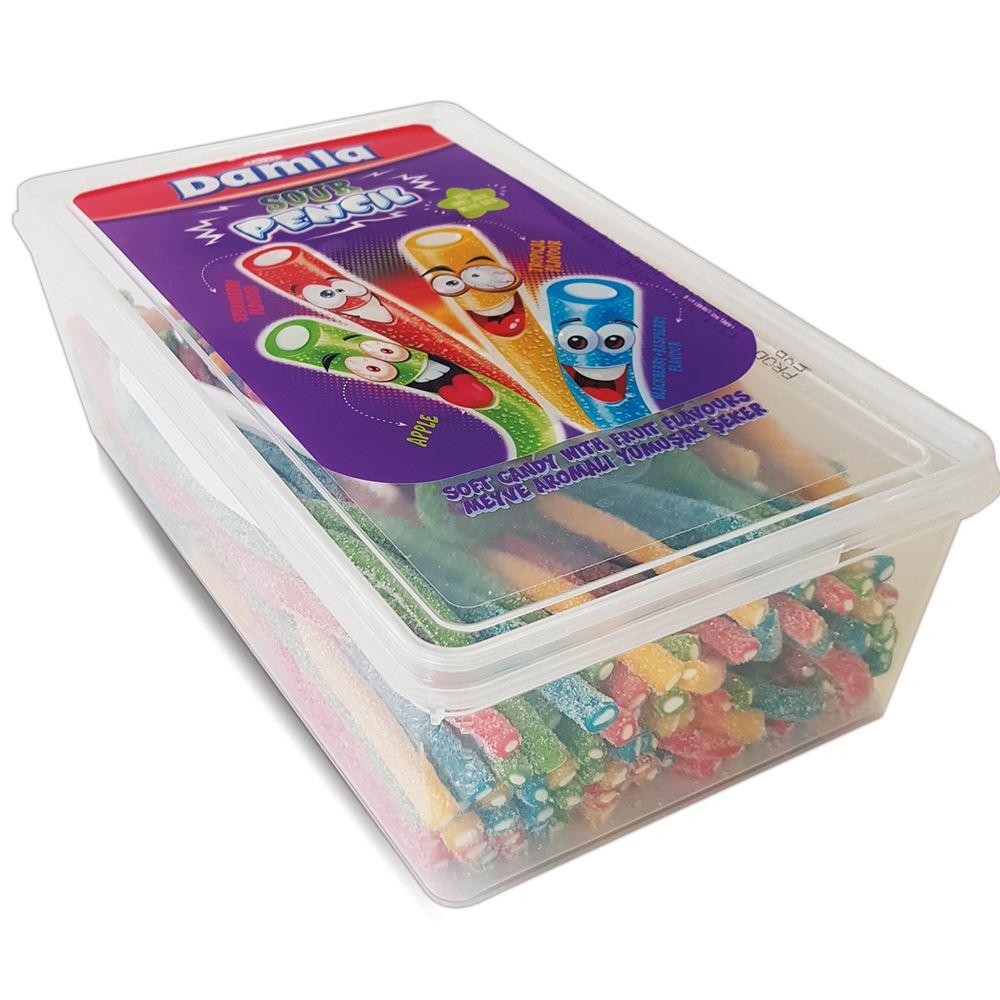 DAMLA Sour Licorice Pencil Assorted Pet Box (100pcs)(1kg)