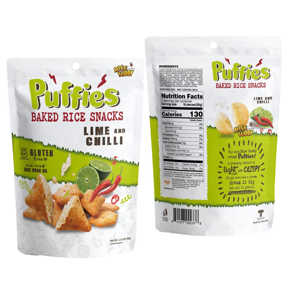 Rise Buddy Rice Puffies 60g - Lime & Chili Flavor