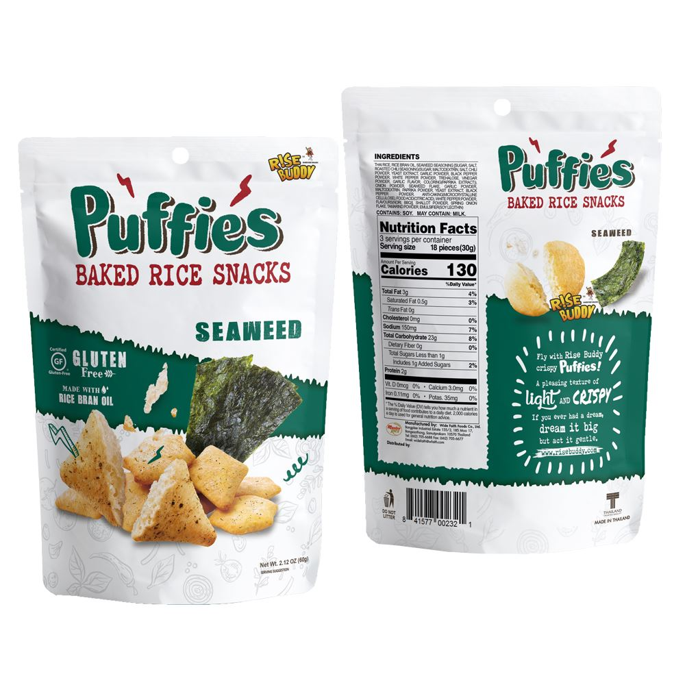 Rise Buddy Rice Puffies 60g - Seaweed Flavor