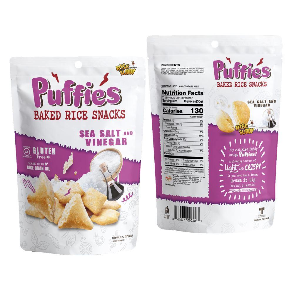Rise Buddy Rice Puffies 60g - Sea Salt & Vinegar Flavor