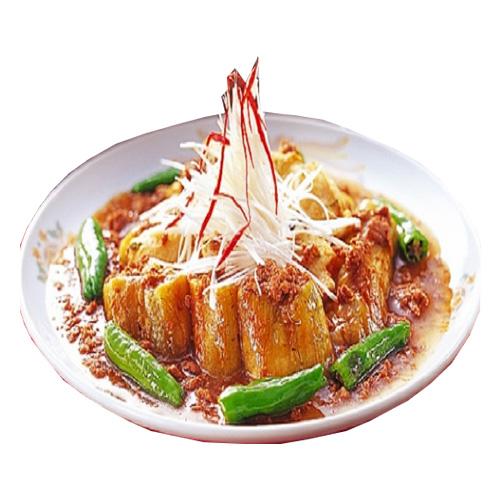 Shrimp input eringi oysters fried eggplant and Chinese bean paste