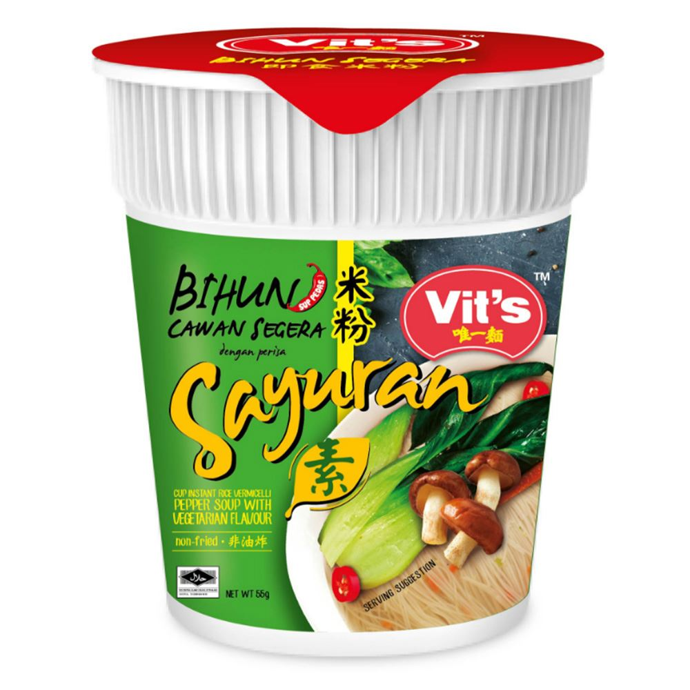 Vit's Instant Cup Vermicelli Noodle Pepper Soup with Vegetarian Flavour