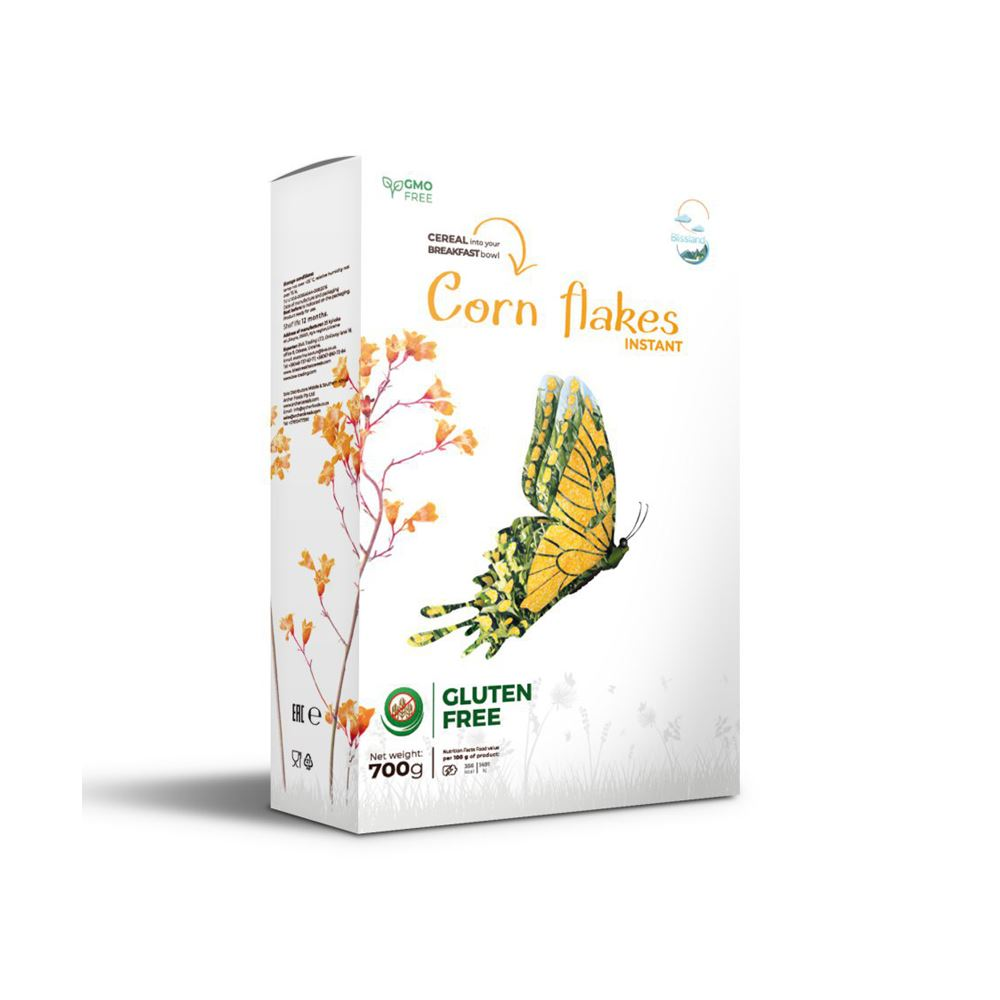 Gluten free Corn flakes of instant cooking breakfast cereal