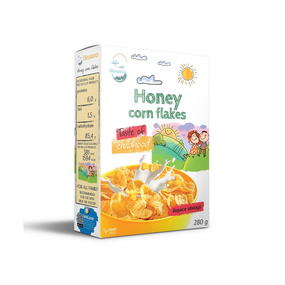 Honey corn flakes breakfast cereal