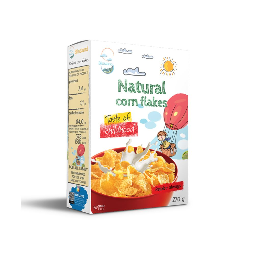 Natural corn flakes breakfast cereal