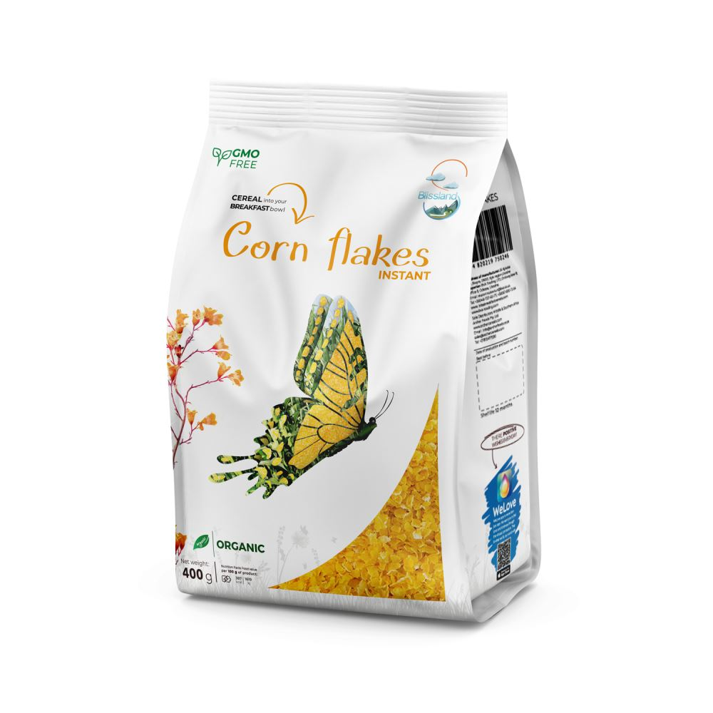 Organic Corn flakes of instant cooking breakfast cereal