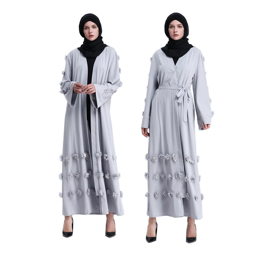 Elegant Lady Dress Islamic Style Abaya With Flowers