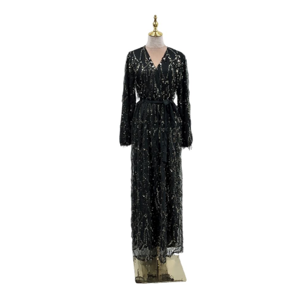 Fashion muslim abaya women sequin tassel dress evening party kaftan abaya robe gown