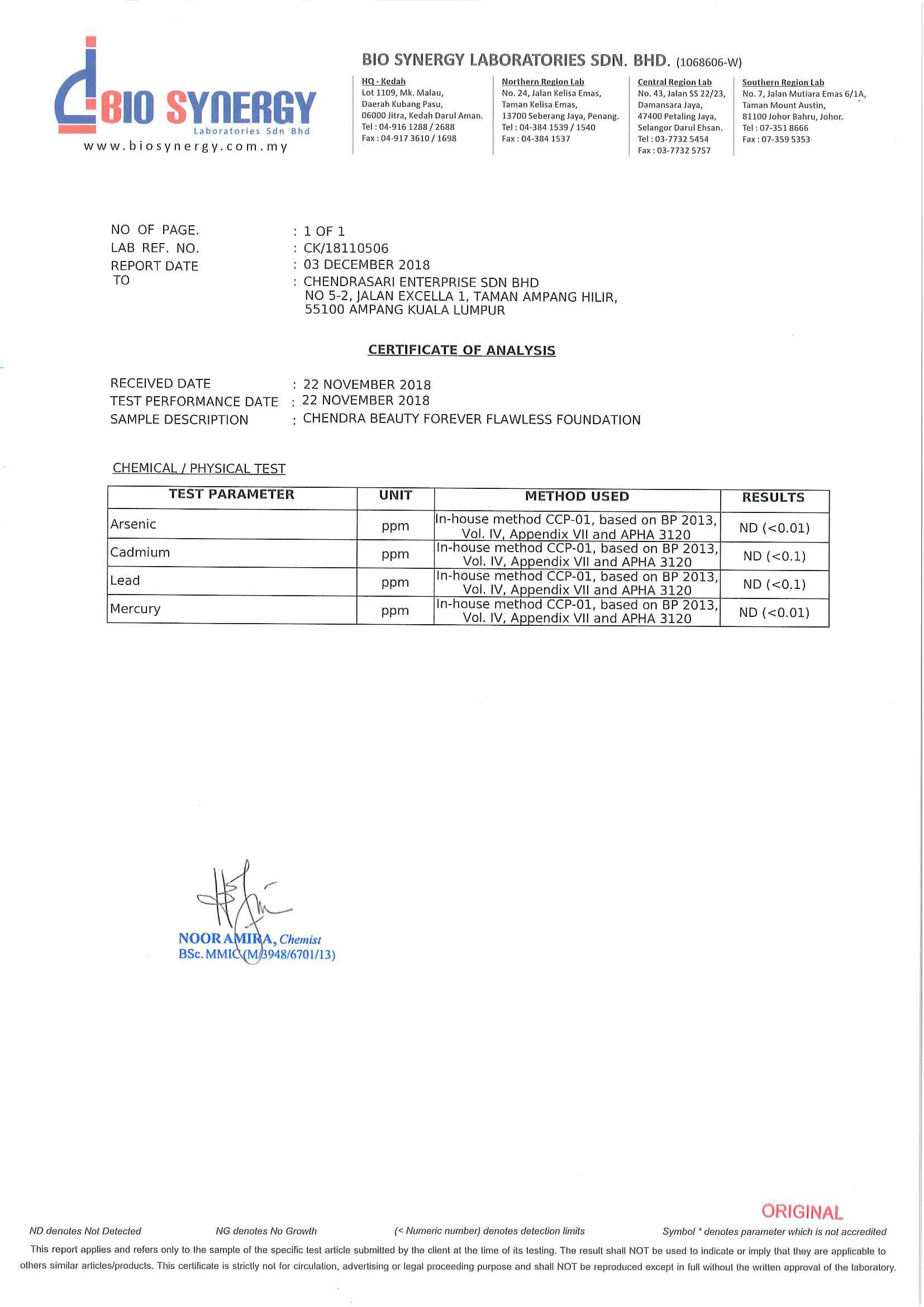 COA - Certificate of Analysis
