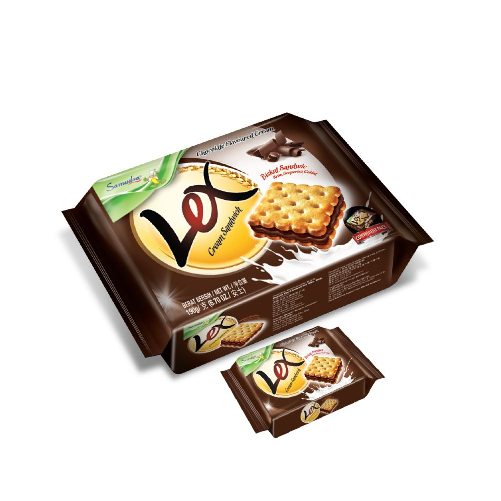 Lex Cream Sandwich (Chocolate Flavoured Cream) (190G x 12Pkts)
