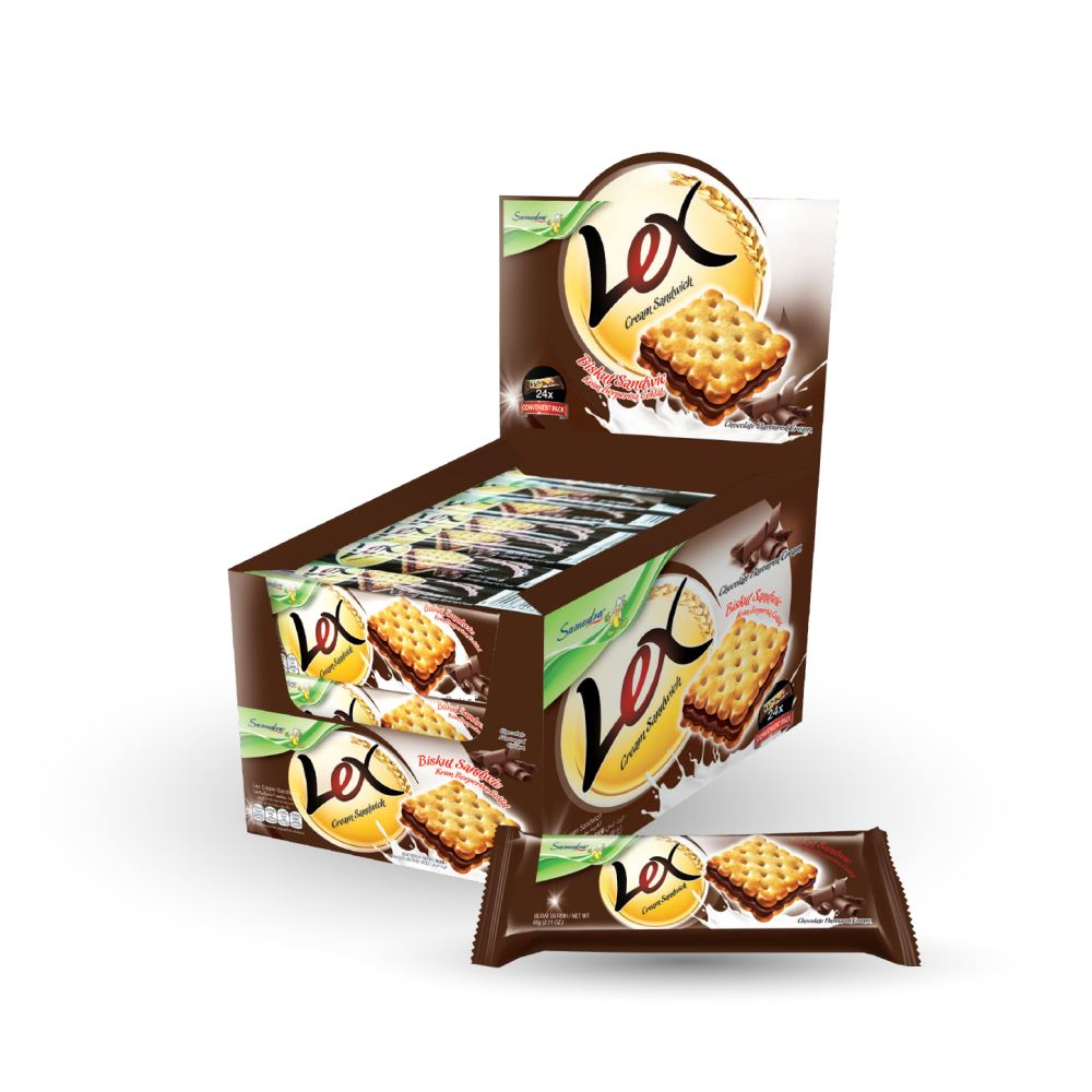 Lex Cream Sandwich (Chocolate Flavoured Cream) (60G x 24Pkts x 6Boxes)