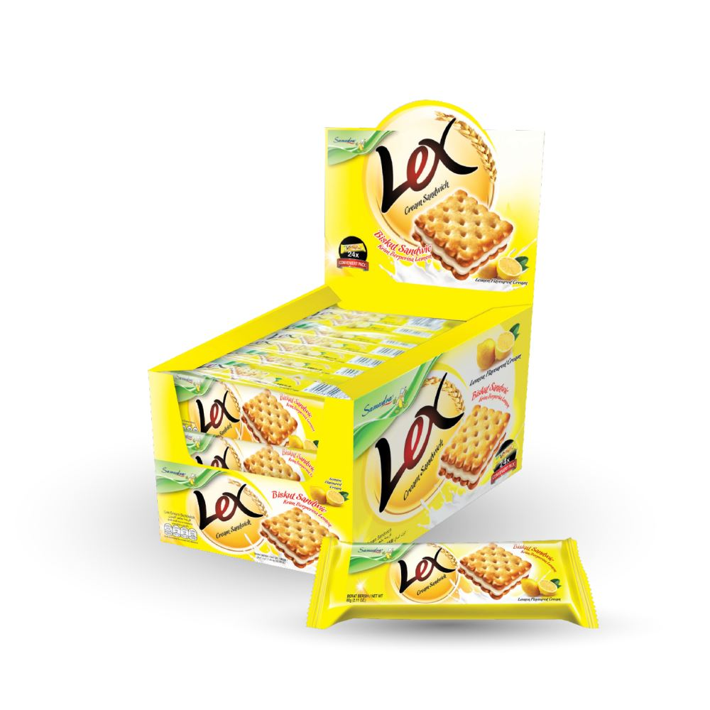 Lex Cream Sandwich (Lemon Flavoured Cream) (60G x 24Pkts x 6Boxes)