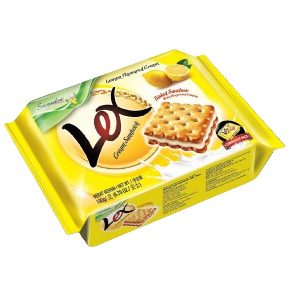 Lex Cream Sandwich (Lemon Flavoured Cream) (190G x 12Pkts)